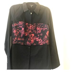 Express Long Sleeve Floral Blouse